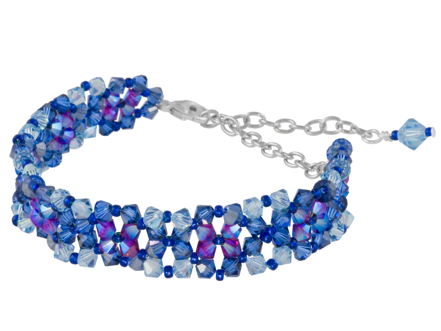Blue and Ruby Weave Bracelet