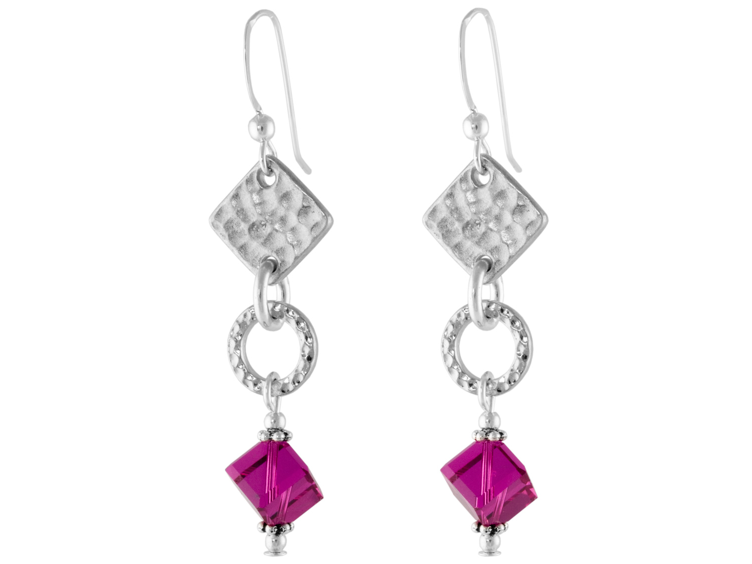 Hammered Fuchsia Earrings