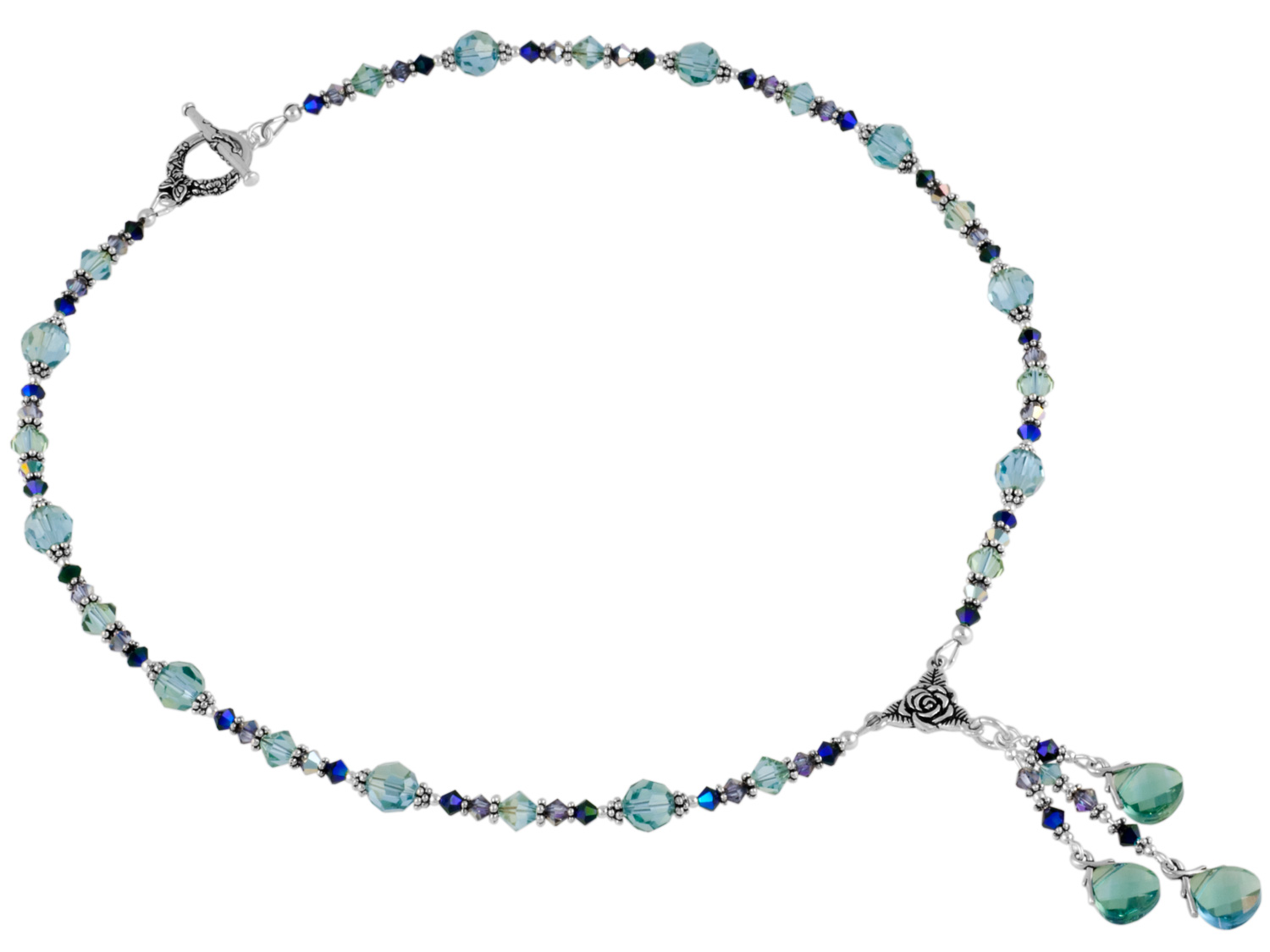 Aqua Champagne Briolette Necklace